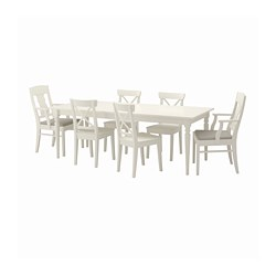 INGATORP/INGOLF - Meja dan 6 kursi, putih/Nordvalla krem