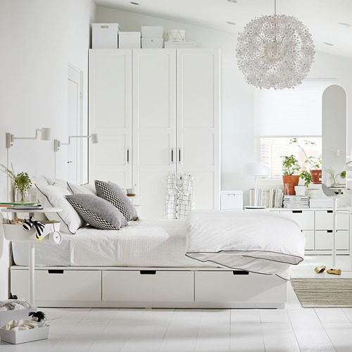 NORDLI rangka tempat tidur dg penyimpanan