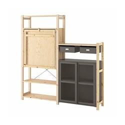 IVAR - Unit rak dg meja/kabinet/laci, kayu pinus/abu-abu jaring
