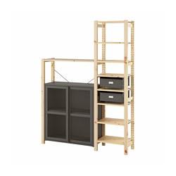 IVAR - Unit rak dg kabinet/laci, kayu pinus/abu-abu jaring
