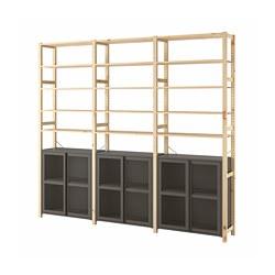 IVAR - 3 bagian/kabinet/rak, kayu pinus/abu-abu jaring