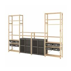 IVAR - 4 bagian/rak/kabinet, kayu pinus/abu-abu jaring