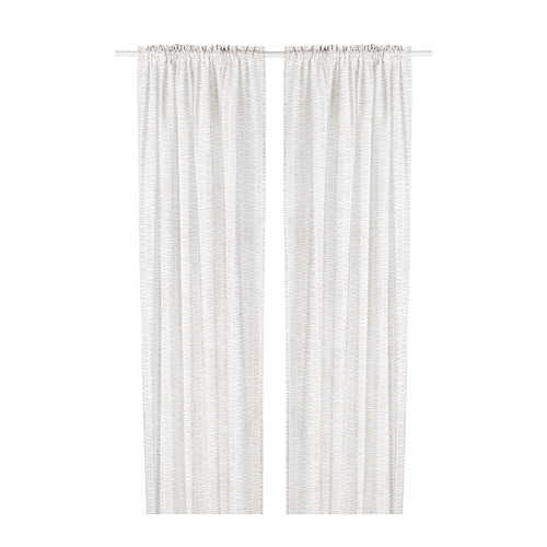 KLÖVERALM - curtains, 1 pair, white/beige, 145x250 cm | IKEA Indonesia - PE792437_S4