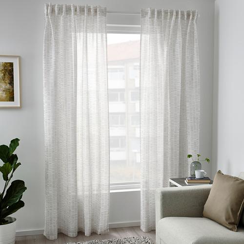 KLÖVERALM - curtains, 1 pair, white/beige, 145x250 cm | IKEA Indonesia - PE792438_S4
