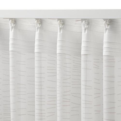 KLÖVERALM - curtains, 1 pair, white/beige, 145x250 cm | IKEA Indonesia - PE792441_S4