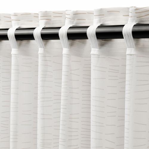 KLÖVERALM - curtains, 1 pair, white/beige, 145x250 cm | IKEA Indonesia - PE792440_S4