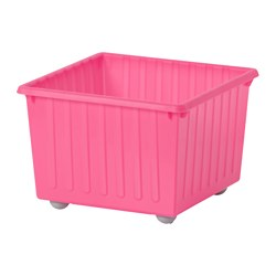 VESSLA - Storage crate with castors, light pink