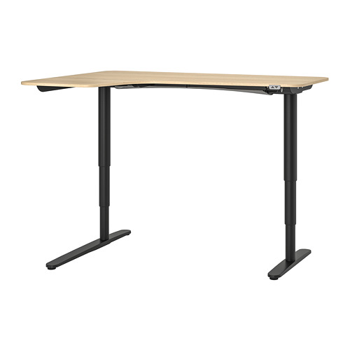 BEKANT - meja sudut kiri duduk/berdiri, veneer kayu oak diwarnai putih/hitam, 160x110 cm | IKEA Indonesia - PE739682_S4