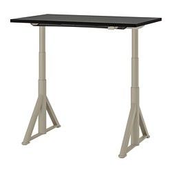 IDÅSEN - Meja duduk/berdiri, hitam/krem, 120x70 cm