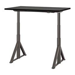 IDÅSEN - Meja duduk/berdiri, hitam/abu-abu tua