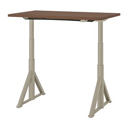 IDÅSEN - Meja duduk/berdiri, cokelat/krem, 120x70 cm