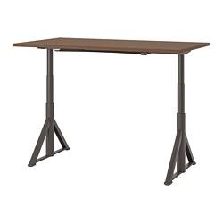 IDÅSEN - IDÅSEN, meja duduk/berdiri, cokelat/abu-abu tua, 160x80 cm