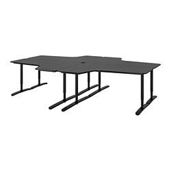 BEKANT - Kombinasi meja, veneer kayu ash diwarnai hitam/hitam
