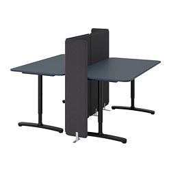BEKANT - Meja dengan penyekat, linoleum biru/hitam