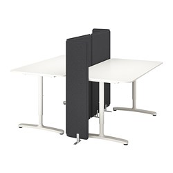BEKANT - Meja dengan penyekat, putih