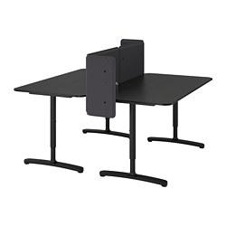 BEKANT - Meja dengan penyekat, veneer kayu ash diwarnai hitam/hitam