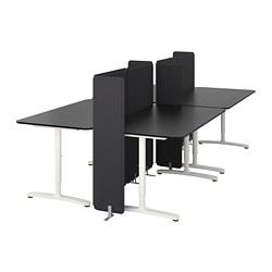 BEKANT - Meja dengan penyekat, veneer kayu ash diwarnai hitam/putih