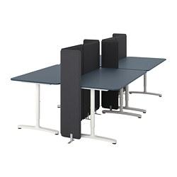BEKANT - Meja dengan penyekat, linoleum biru/putih