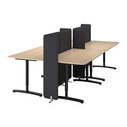 BEKANT - Meja dengan penyekat, veneer kayu oak diwarnai putih/hitam