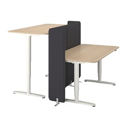 BEKANT - Meja duduk/berdiri dengan layar, veneer kayu oak diwarnai putih/putih