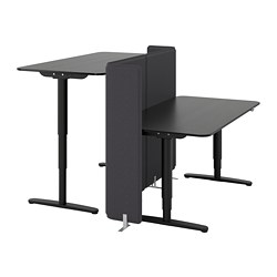 BEKANT - Desk sit/stand with screen, black stained ash veneer/black