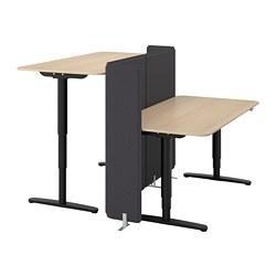 BEKANT - Desk sit/stand with screen, white stained oak veneer/black