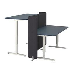 BEKANT - Meja duduk/berdiri dengan layar, linoleum biru/putih