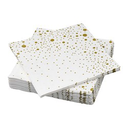 VINTERFEST - Paper napkin, patterned/white/gold-colour