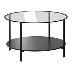 VITTSJÖ - Coffee table, black-brown/glass