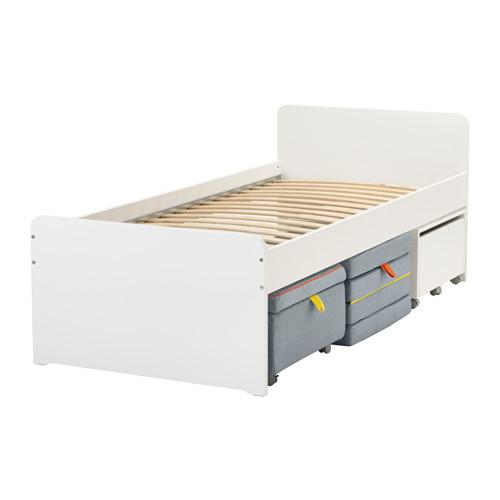 SLÄKT bed frame w seat module and storage