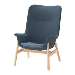 VEDBO - Kursi berlengan dg sandaran tinggi, Gunnared biru