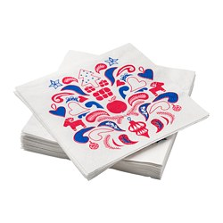 VINTERFEST - Paper napkin, patterned white/red/blue