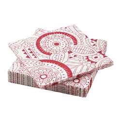 VINTERFEST - Paper napkin, patterned/white/red