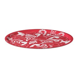 VINTERFEST - Tray, patterned/white/red