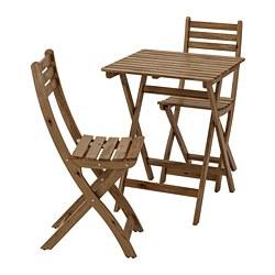 ASKHOLMEN - Meja+2 kursi, luar ruang, diwarnai abu-abu cokelat