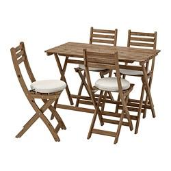 ASKHOLMEN - Meja+4 kursi lipat, luar ruang, diwarnai abu-abu cokelat/Frösön/Duvholmen krem