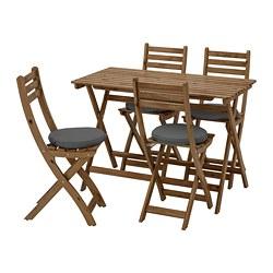 ASKHOLMEN - Meja+4 kursi lipat, luar ruang, diwarnai abu-abu cokelat/Frösön/Duvholmen abu-abu tua