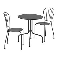 LÄCKÖ - Meja+2 kursi, luar ruang, abu-abu