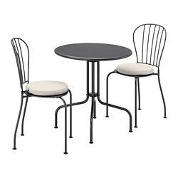 LÄCKÖ - Meja+2 kursi, luar ruang, abu-abu/Frösön/Duvholmen krem