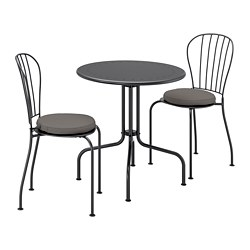 LÄCKÖ - Meja+2 kursi, luar ruang, abu-abu/Frösön/Duvholmen abu-abu tua