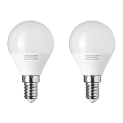 RYET - Bohlam LED E14 200 lumen, bulat putih opal
