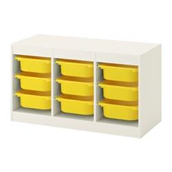 TROFAST - Kombinasi penyimpanan dgn kotak, putih/kuning