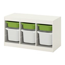 TROFAST - Storage combination with boxes, white/green