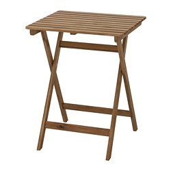 ASKHOLMEN - Table, outdoor, foldable light brown stained