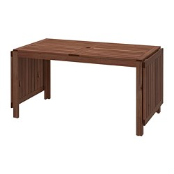ÄPPLARÖ - Drop-leaf table, outdoor, brown stained