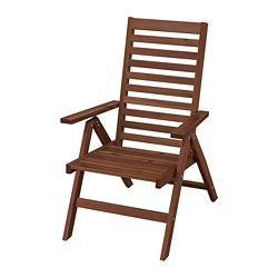 ÄPPLARÖ - Reclining chair, outdoor, foldable brown stained