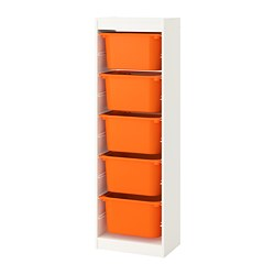 TROFAST - Storage combination with boxes, white/orange