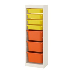 TROFAST - Storage combination with boxes, white/yellow orange