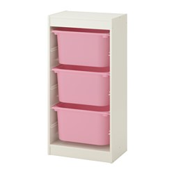 TROFAST - Storage combination with boxes, white/pink