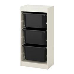 TROFAST - Kombinasi penyimpanan dgn kotak, putih/hitam